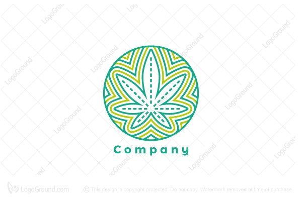 Logo for sale: Geometric Pot Leaf Logo