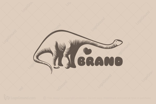 Logo for sale: Dino In Love Logo
