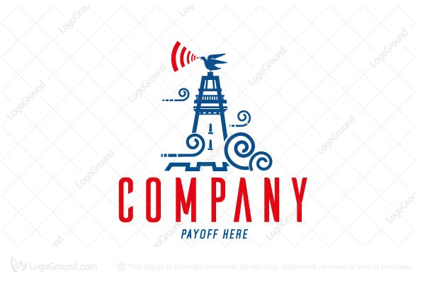 Logo for sale: Sea Tower Lighthouse With Seagull Logo