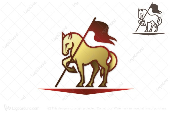 Logo for sale: Horse With Flag Logo