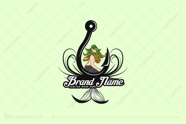 Logo for sale: Fishing Mermaid Logo
