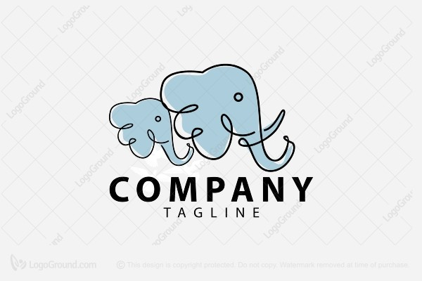 Logo for sale: Elephant With Baby Logo