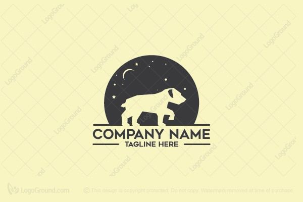 Logo for sale: Dog Moon And Star Logo