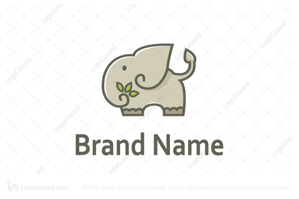 Logo for sale: Elephant And Leaves Logo