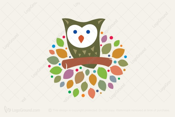 Logo for sale: Owl On The Tree Logo