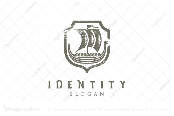 Logo for sale: Viking Ship On Shield Logo