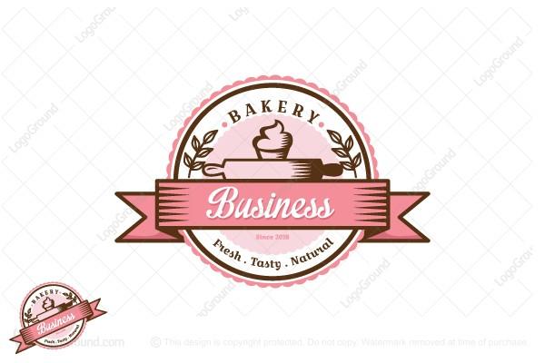Pink Cupcake Bakery Logo