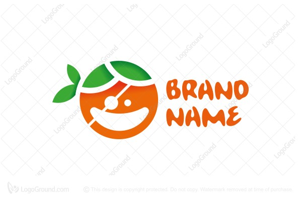 Logo for sale: Fruity Orange Pirate Face Logo