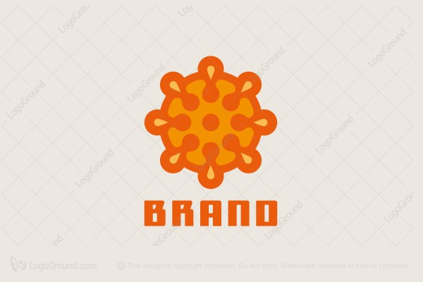 Logo for sale: Abstract Exploding Orange Logo