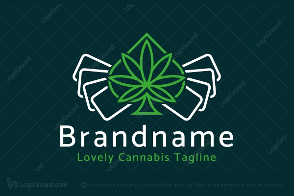 Logo for sale: Cannabis Spades Poker Game Logo