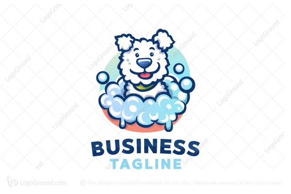 Logo for sale: Cartoon Dog Bath Logo