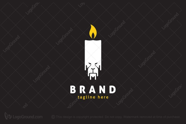 Logo for sale: Melting Candle Lion Logo