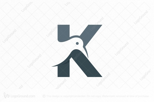 Logo for sale: Letter K Bird Logo