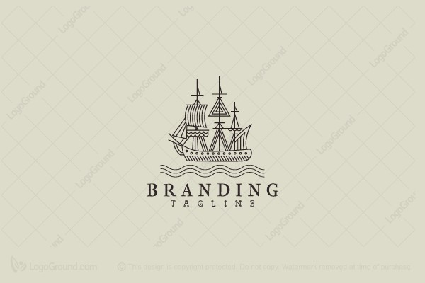 Logo for sale: Ship In Sea Logo