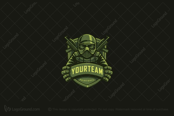 Logo for sale: Paintball Mascot Logo