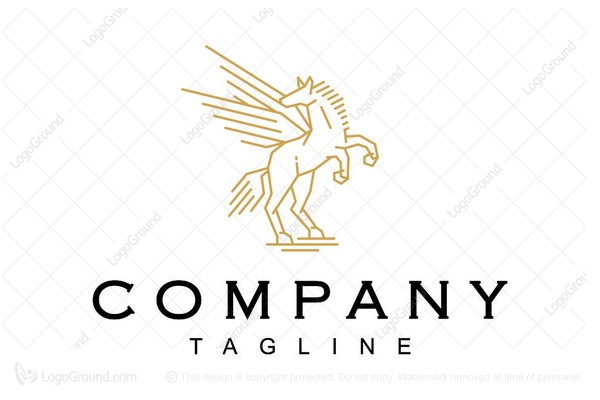Logo for sale: Flying Horse Line Art Logo