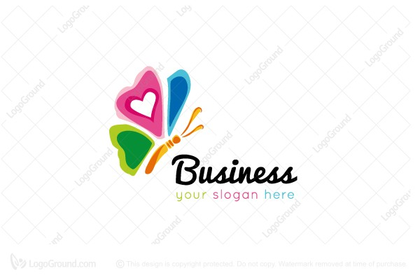 Logo for sale: Colorful Butterfly With Love Logo