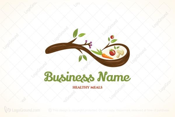 Exclusive Logo 112050, Organic Spoon Healthy Meals Logo