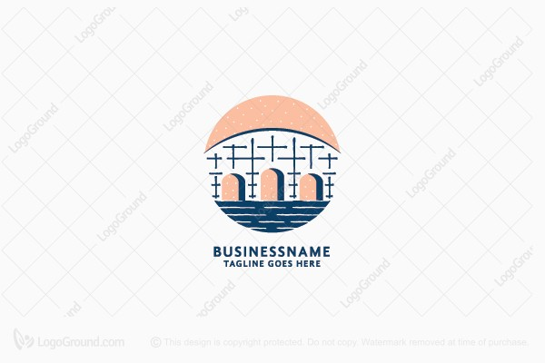 Logo for sale: Bridge In Water Logo