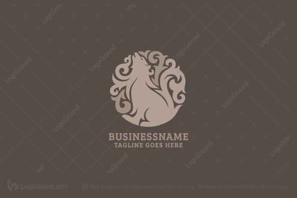 Logo for sale: Wolf With Swirls Logo