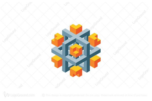 Logo for sale: 3d Abstract Geometric Structure Logo