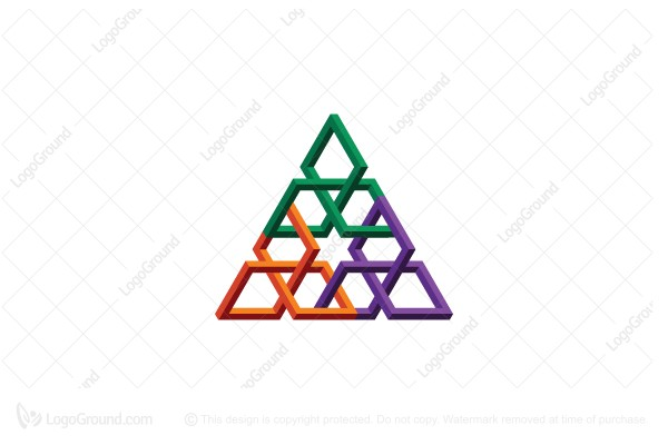 Logo for sale: Abstract 3d Triangular Structure Logo