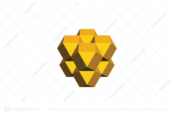 Logo for sale: Abstract Golden 3d Structure Logo