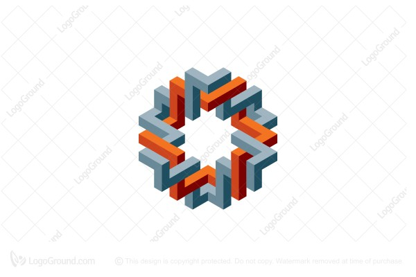 Logo for sale: Abstract 3d Intertwined Structure Logo