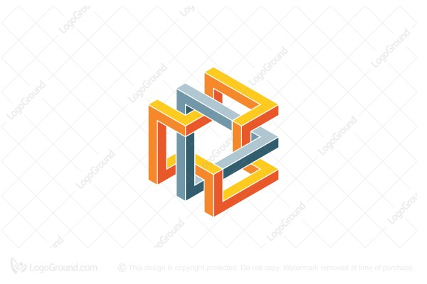 Logo for sale: Abstract 3d Impossible Triangle Structure Logo