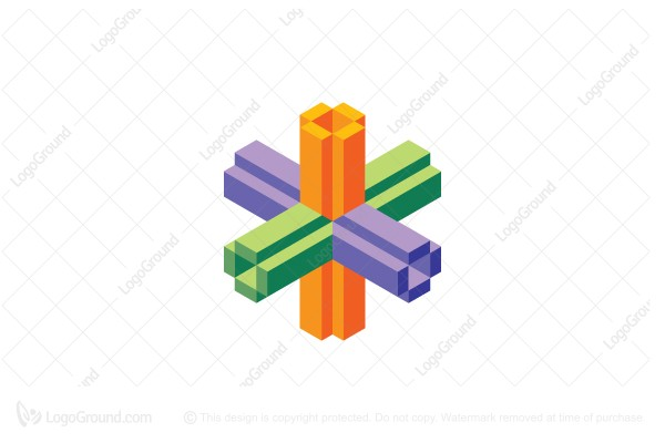 Logo for sale: 3d Voxel Intersecting Tubes Logo