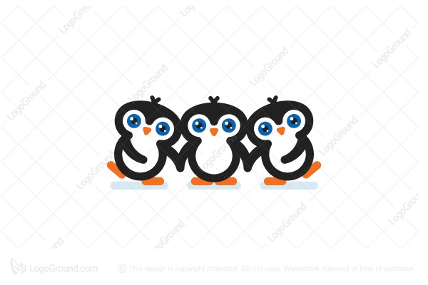 Logo for sale: Cute Penguins Logo