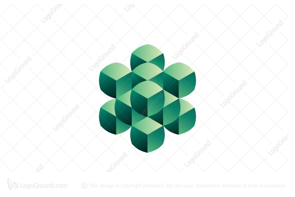 Logo for sale: Abstract Rounded Cubes Logo