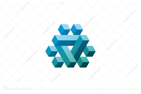 Logo for sale: 3d Triangular Structure Abstract Logo