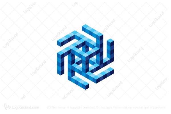Logo for sale: Abstract Cube Spiral Logo