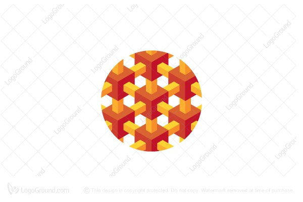 Logo for sale: Abstract Cube Array In Circle Logo