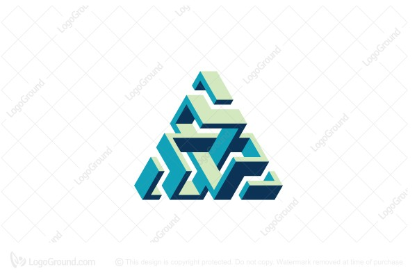 Logo for sale: 3d Structure Abstract Triangle Logo