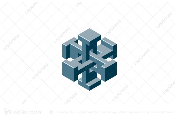 Logo for sale: 3d Abstract Interlocking Geometric Structure Logo