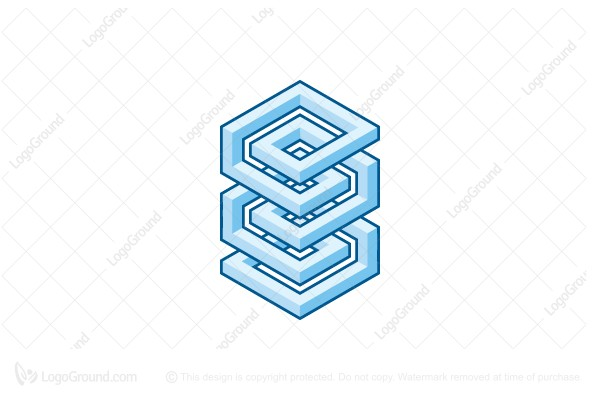 Logo for sale: Abstract 3d Geometric Spiral Structure Logo