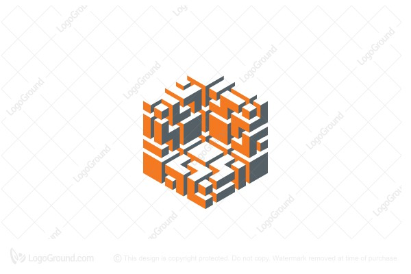 Logo for sale: 3d Abstract Geometric Hexagonal Structure Logo