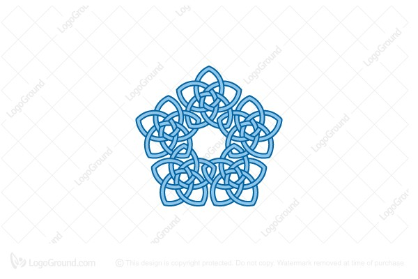 Logo for sale: Stylized Knot Pentagon Flower Logo