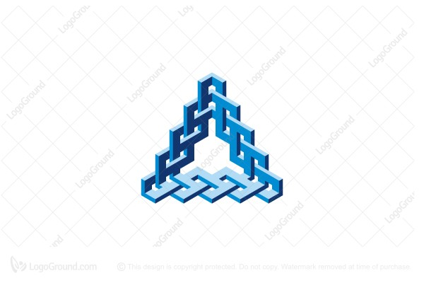 Logo for sale: Abstract Triangular Braided Structure Logo