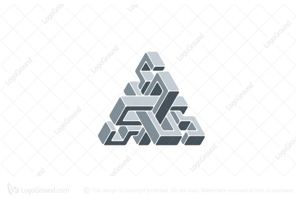 Logo for sale: 3d Abstract Geometric Triangular Structure Logo