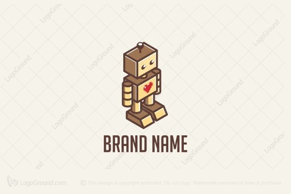 Logo for sale: Retro Toy Robot Heart Logo