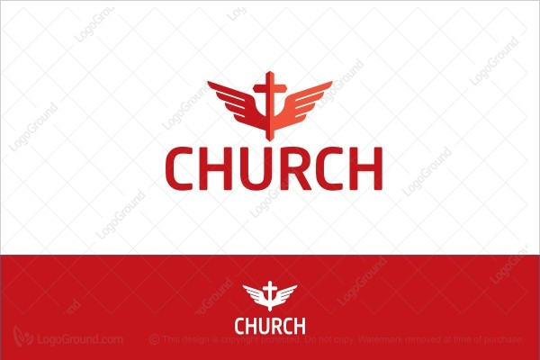 Logo for sale: Flaming Red Wings Cross Church Logo
