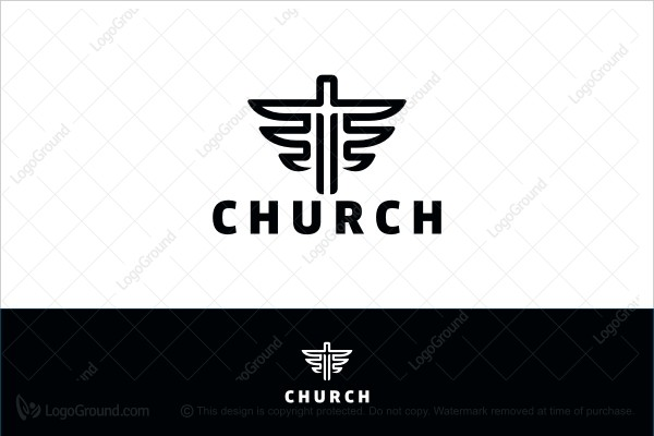 Logo for sale: Black And White Church Logo