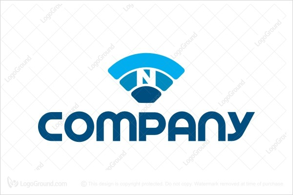 Logo for sale: Wifi Letter N Logo