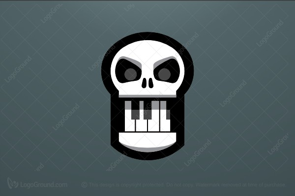 Logo for sale: Piano Skull Logo