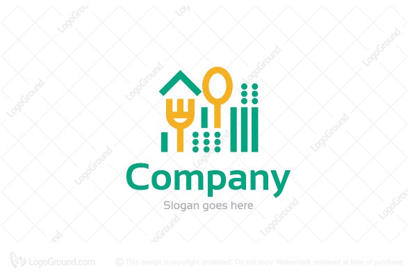 Logo for sale: Harvest Home With Cutlery Logo