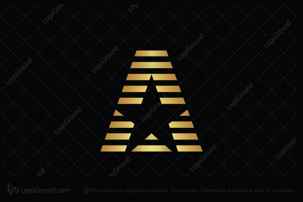 Logo for sale: Golden Star Letter A Logo