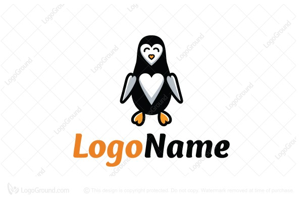 Logo for sale: Heart Penguin Logo
